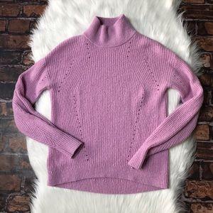 Ann Taylor Wool Blend Eyelet Turtleneck Sweater